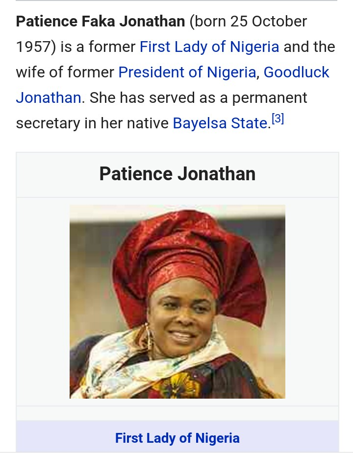 Nigeria first lady, Patience Jonathan
